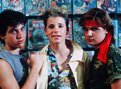 """From """"The Lost Boys"""": Sam (Corey Haim), flanked by the Frog brothers (Jamison Newlander, left, and Corey Feldman)."""