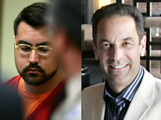 "Esequiel ""Paul"" Garcia, left, at his 2008 arraignment; and Mark Achilli, right, the man he's accused of killing."