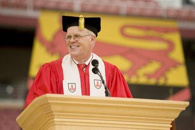 6/14/20092009 Commencement. Stanford's President John Hennessy smiled at the graduating class during the 118th Commencement ceremony.Credit: Linda A. Cicero / Stanford News Service