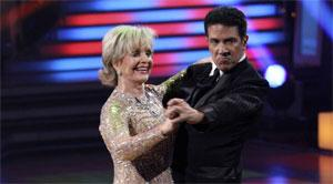 """In this publicity image released by ABC, Florence Henderson, left, and her partner Corky Ballas perform during the celebrity dance competition series """"Dancing with the Stars,"""" Monday, Oct. 18, 2010, in Los Angeles."""