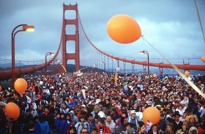 Thousands of people clog the Golden Gate Bridge during the 50th anniversary of the span in May 1987. (IJ photo/Scott Henry)