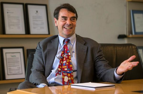 Venture Capitalist Tim Draper talks about the opening of his Draper University in downtown San Mateo at the offices of Draper Fisher and Jurvetson in Menlo Park, Calif., on Tuesday, April 2, 2013. (John Green/Staff)