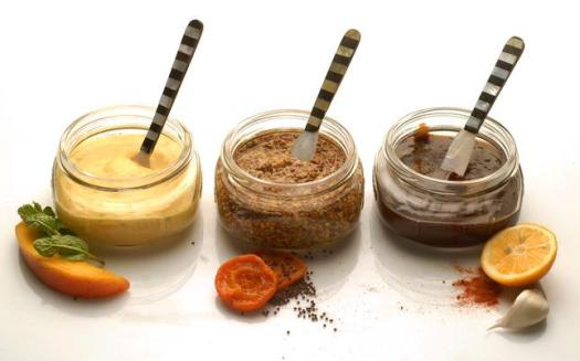 From left, Tropical Mango Mayonnaise, Apricot-Bourbon Mustard and LB Steak Sauce, photographed in Walnut Creek, Calif., on Wednesday, April 11, 2012.      (Mark DuFrene/Staff)