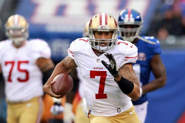 EAST RUTHERFORD, NJ - NOVEMBER 16: Colin Kaepernick #7 of the San Francisco 49ers runs with the ball against the New York Giants at MetLife Stadium on November 16, 2014 in East Rutherford, New Jersey. (Photo by Michael Heiman/Getty Images)