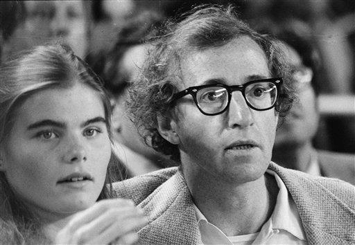 Woody Allen sits with Mariel Hemingway at Yankee Stadium in New York, during the World Series Oct. 13, 1978.