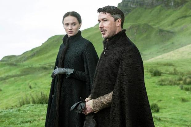 "In this image released by HBO, Sophie Turner, as Sansa Stark, left, and Aidan Gillen, as Petyr ""Littlefinger"" Baelish, appear in a scene from the HBO original series, ""Game of Thrones,"" premiering Sunday, April 12, 2015, on HBO. For the first time, ""Game of Thrones"" and AMC's ""Mad Men,"" which premieres April 5, will be available to so-called cord cutters _ legally. (AP Photo/HBO)"