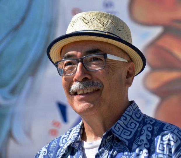 This handout photo provided by the University of California-Riverside shows Juan Felipe Herrera. Herrera, the son of migrant farm workers in California, will be the next U.S. poet in chief. The Library of Congress announced Wednesday the appointment of Herrera as the nation's 21st poet laureate for 2015 through 2016, beginning in September. Herrera, 66, whose parents emigrated from Mexico, will be the nation's first Latino poet laureate since the position was created in 1936. (Carlos Puma/University of California-Riverside via AP)