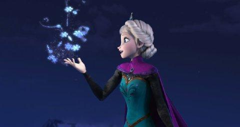 "This image released by Disney shows Elsa the Snow Queen, voiced by Idina Menzel, in a scene from the animated feature ""Frozen."" (AP Photo/Disney)"