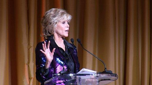 Jane Fonda speaks at a gala for the twentieth anniversary of the Georgia Campaign for Adolescent Power & Potential in Atlanta, Thursday, Sept. 24, 2015.