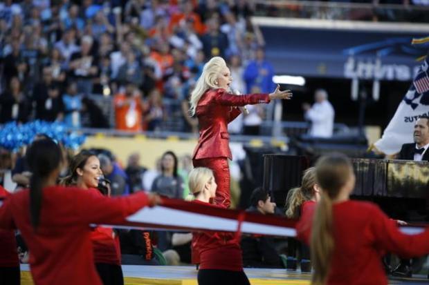 Lady Gaga sings the national anthem before the start of Super Bowl 50 at Levi's Stadium in Santa Clara, Calif., on Sunday, Feb. 7, 2016. (Nhat V. Meyer/Bay Area News Group)