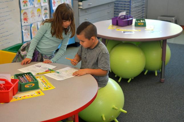 ball chairs for students hanging yoga chair marin school s wiggle give the freedom to squirm kindergartners maila van peursem and andre valasquez sit on inflatable thursday feb 11 2016 at sun valley elementary in san rafael