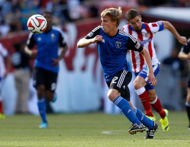 San Jose Earthquakes' Tommy Thompson (22) controls the ball against Atletico Madrid in the second half at Candlestick Park in San Francisco, Calif., on Sunday, July 27, 2014. (Nhat V. Meyer/Bay Area News Group)