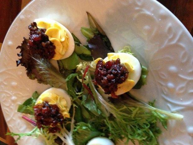 The Mile Wine Company on Stockton's Miracle Mile offers sommelier bootcamps, winemaker dinners and a wine bar that services tasty little noshes,such as these deviled eggs with bacon jam, to accompany wines by the glass.(Photo Jackie Burrell/Staff)
