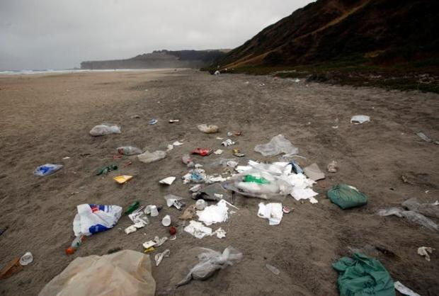 Tunitas Creek Beach still shows piles of trash left behind by 4th of July partygoers three days later, on Wednesday, July 6, 2016, near Half Moon Bay, Calif. (Karl Mondon/Bay Area News Group)