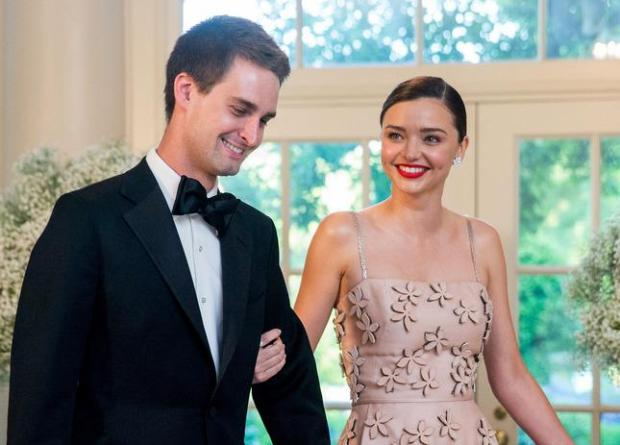 Model Miranda Kerr and Snapchat CEO Evan Spiegel, arrive for a state dinner for Nordic leaders at the White House in Washington earlier this year. (AP Photo/Andrew Harnik, File)