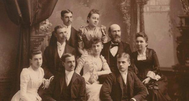 The family of Eliza Poor Donner and Sherman Otis Houghton.Top: Francis Houghton, Mary Houghton. Middle: Sherman O. Houghton, Eliza P. Houghton, Sherman OtisHoughton, Eliza Poor Donner. Bottom: Clara H. Houghton, Charles Houghton, Stanley Houghton. (Sourisseau Academy)
