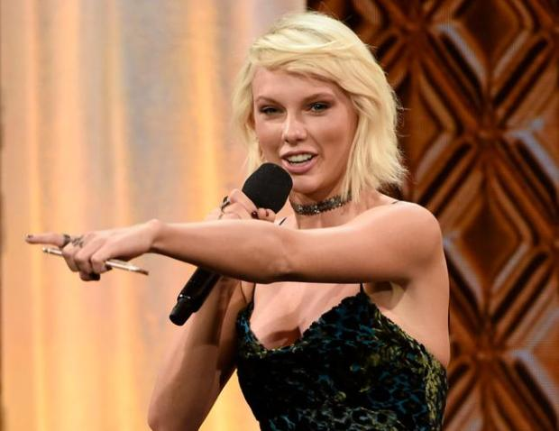 Taylor Swift in May accepts the BMI Taylor Swift Award at the 64th annual BMI Pop Awards at the Beverly Wilshire Hotel in Beverly Hills, Calif. (Photo by Chris Pizzello/Invision/AP, File)