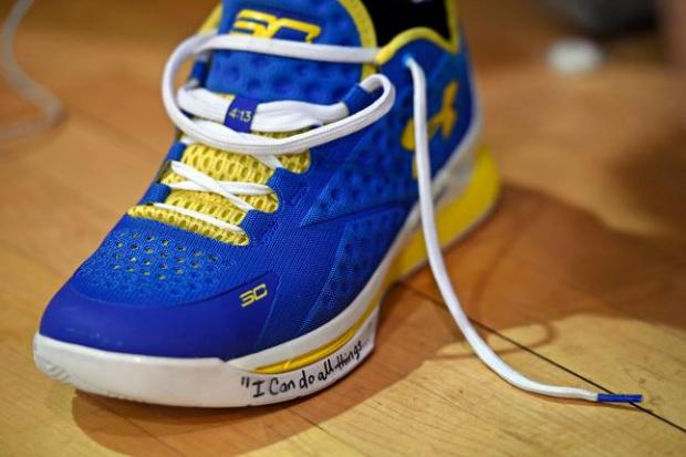 430668dd813b Shoes belonging to Golden State Warriors  Stephen Curry (30) wait to be used