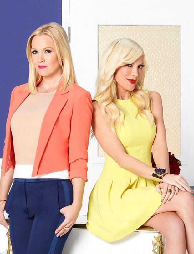 "Former ""Beverly Hills, 90201"" stars Jennie Garth and Tori Spelling star in an undated photo."