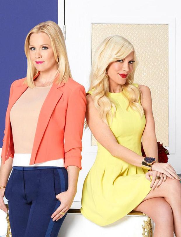 "Former ""Beverly Hills, 90201"" stars Jennie Garth and Tori Spelling star in an undated photo."