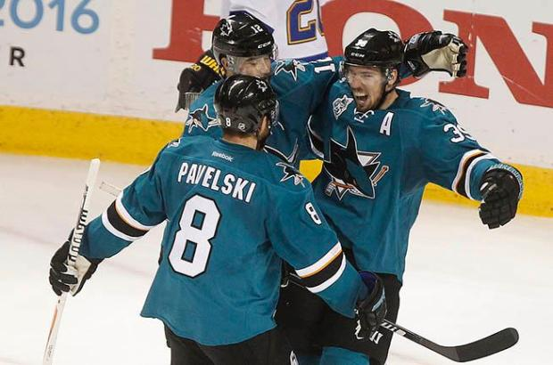 San Jose Sharks forward Logan Couture (39) celebrates his third period goal with teammates Patrick Marleau (12) and Joe Pavelski (8) during their game against the St. Louis Blues in Game 6 of the NHL Western Conference finals on Wednesday, May 25, 2016 at SAP Center in San Jose, Calif. (Aric Crabb/Bay Area News Group)