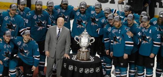 The San Jose Sharks are photographed with Deputy Commissioner Bill Daly during the presentation of the Clarence S. Campbell Bowl after the team's 5-2 win over the St. Louis Blues in Game 6 of the NHL Western Conference finals on Wednesday, May 25, 2016 at SAP Center in San Jose, Calif. (Aric Crabb/Bay Area News Group)