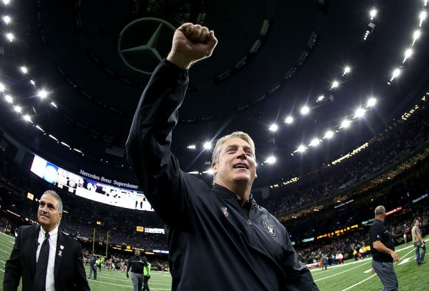 NEW ORLEANS, LA - SEPTEMBER 11: Head coach Jack Del Rio of the Oakland Raiders celebrates after his team defeated the New Orleans Saints 35-34 at the Mercedes-Benz Superdome on September 11, 2016 in New Orleans, Louisiana. (Photo by Sean Gardner/Getty Images)