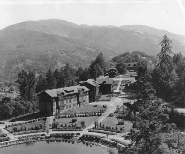 A 1937 photograph of the Alma College Campus looking south towards the Santa Cruz Mountains. Foreground: Upper Lake. Buildings: dormitories (no longer standing), classroom building, library, and Tevis mansion.