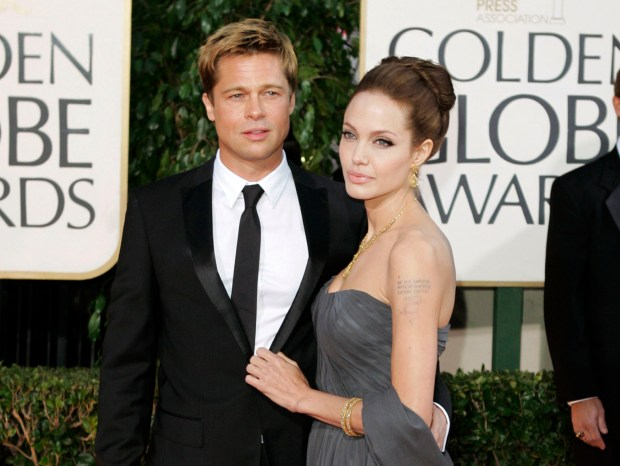 In this Jan. 15, 2007 file photo, Brad Pitt, and actress Angelina Jolie arrive for the 64th Annual Golden Globe Awards in Beverly Hills, Calif.