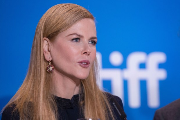 """Actress Nicole Kidman speaks at the press conference for """"Lion"""" at the Toronto International Film Festival in Toronto, Ontario, September 11, 2016. / AFP PHOTO / GEOFF ROBINSGEOFF ROBINS/AFP/Getty Images"""