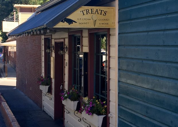 With handmade ice cream flavors such as sweet red pepper-strawberry, Swiss orange chip and snickerdoodle, Nevada City's Treats is a popular destination with locals and visitors alike. (Jackie Burrell/Bay Area News Group)