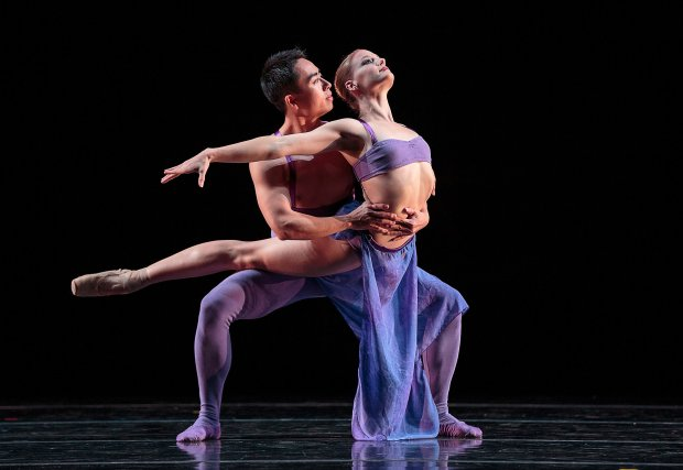 "Among the dancers featured in Smuin company's West Coast premiere of Stanton Welch's ""Indigo"" were Mengjun Chen, left, and Tessa Barbour. (Chris Hardy)"