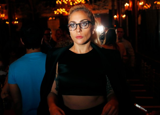 Lady Gaga arrives before the Brandon Maxwell Spring 2017 collection is modeled during Fashion Week at the Russian Tea Room in New York, Tuesday, Sept. 13, 2016. (AP Photo/Seth Wenig)