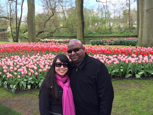 In April, Sangam and Heidi Racherla of San Jose visited the Keukenhof Garden during a 10-day trip to Holland and Germany. (Photo courtesy of the Racherla Family)