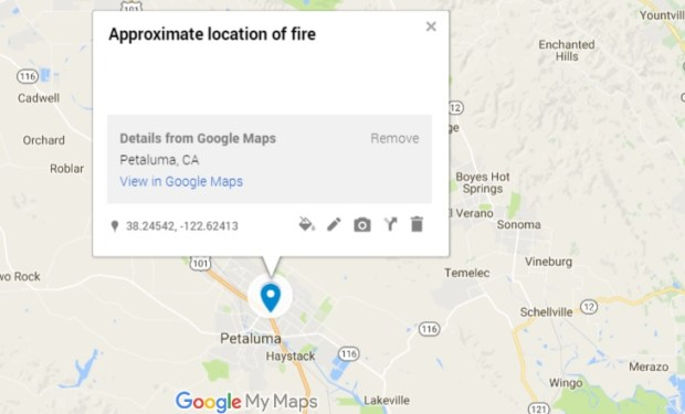 A fire burned multiple homes and shut down part of Highway 101 in Petaluma Tuesday afternoon, officials said. (Google Maps)