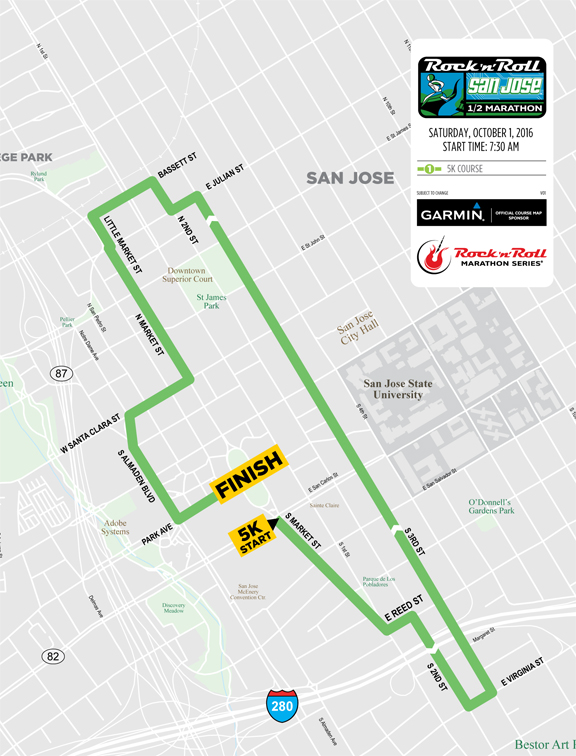 Map San Jose street closures for Rock n Roll HalfMarathon