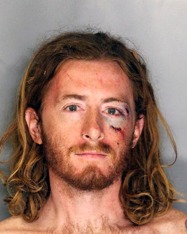 This undated photo provided by the Sacramento, Calif., Police Department shows Sean Thompson. Thompson hit Sacramento Mayor Kevin Johnson in the face with a pie at a charity dinner Wednesday, Sept. 21, 2016 and an official said the former NBA star went on the defensive. (Sacramento Police Department via AP)