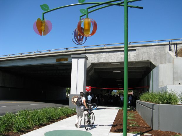 A cyclist approaches the East Campbell Avenue Portals just before the Aug. 5 ribbon cutting ceremony put on by city of Campbell officials. A widening of the tunnel was completed last month after nearly two years of construction. Photograph by Jasmine Leyva