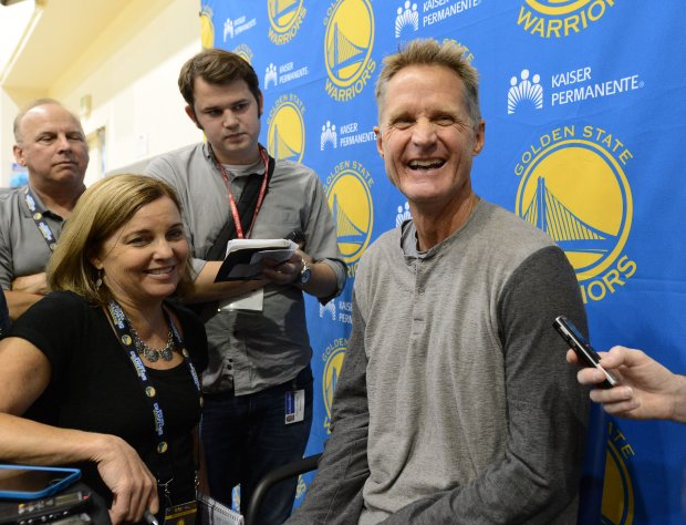 Golden State Warriors head coach Steve Kerr chats with the media at the team's practice facilities in Oakland, Calif., on Wednesday, Sept. 21, 2016. (Dan Honda/Bay Area News Group)