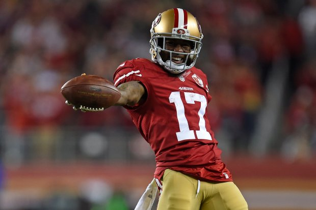 San Francisco 49ers' Jeremy Kerley (17) celebrates after making a reception against the Los Angeles Rams in the second quarter of their NFL game at Levi's Stadium in Santa Clara, Calif., on Monday, Sept. 12, 2016. (Jose Carlos Fajardo/Bay Area News Group)