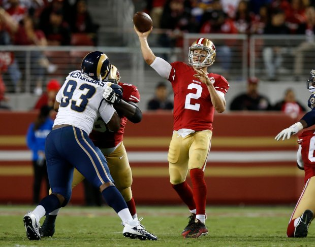 San Francisco 49ers starting quarterback Blaine Gabbert (2) throws against the Los Angeles Rams in the fourth quarter of their NFL game at Levi's Stadium in Santa Clara, Calif., on Monday, Sept. 12, 2016. (Nhat V. Meyer/Bay Area News Group)