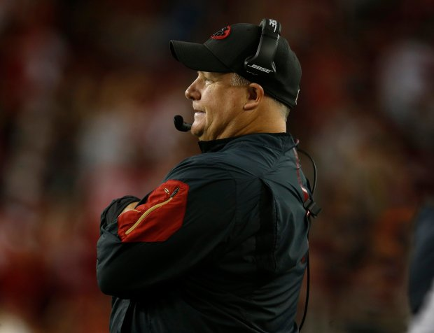 San Francisco 49ers head coach Chip Kelly watches the game from the sidelines during their game against the Los Angeles Rams in the fourth quarter of their NFL game at Levi's Stadium in Santa Clara, Calif., on Monday, Sept. 12, 2016. (Nhat V. Meyer/Bay Area News Group)