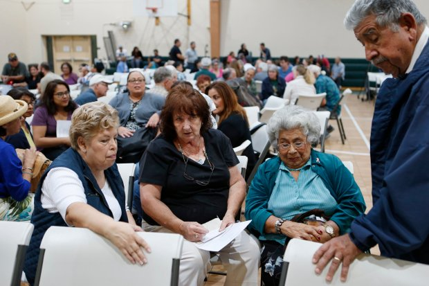 (left-right) Virginia Villalobos, Francine Arnaz, Jennie Luna, and Alfred Villalobos, are photographed during group discussions on their neighborhood concerns at the Alum Rock Foothills neighborhood meet at Saint John Vianney community center in San Jose, Calif., on Thursday, September 15, 2016. (Josie Lepe/Bay Area News Group)
