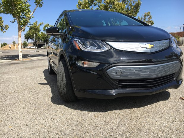 An exterior view of the 2017 Chevrolet Bolt all-electric car, which boasts a greater range than the base-model Tesla Model S. The Bolt is said to be able to travel 238 miles on a full charge. (Troy Wolverton/Bay Area News Group)