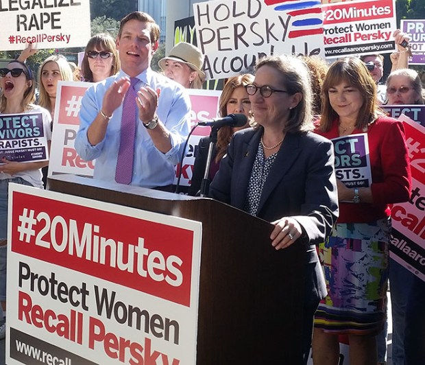 Stanford University professor Michele Dauber speaks at the Friday, Sept. 2, 2016, rally to galvanize supporters in recalling Santa Clara County Judge Aaron Persky for handing a lenient county jail sentence to Brock Turner, who was convicted of three sexual assault-related felonies.