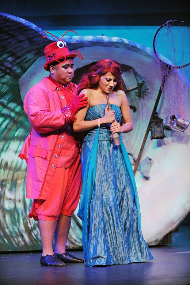 "Joyce Goldschmid / Palo Alto Players Daniel Lloyd Pias as Sebastian, left, and Cheyenne Wells as Ariel in ""Disney's 'The Little Mermaid,'"" playing Sept. 16 through Oct. 2, 2016, at Palo Alto Players."