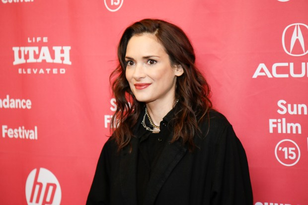 """Actress Winona Ryder poses at the premiere of """"Experimenter"""" during the 2015 Sundance Film Festival on Sunday, Jan. 25, 2015, in Park City, Utah. (Photo by Danny Moloshok/Invision/AP)"""