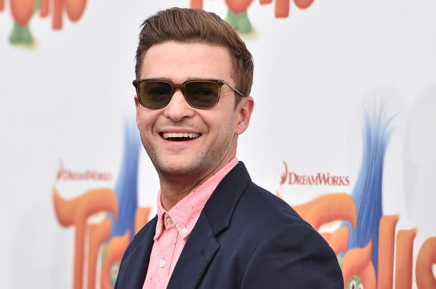 "Justin Timberlake arrives at the Los Angeles premiere of ""Trolls"" on Sunday, Oct. 23, 2016 in Westwood, Calif. (Photo by Jordan Strauss/Invision/AP)"