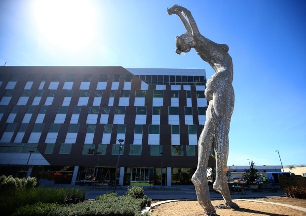 "The 55-foot-tall sculpture, ""Truth Is Beauty,"" by artist Marco Cochrane is photographed at the new San Leandro Tech Campus on Thursday, Oct. 6, 2016, in San Leandro, Calif. (Aric Crabb/Bay Area News Group)"