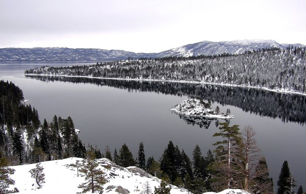 The bike trails that encircle Lake Tahoe are equally enticing during warm weather and in winter, when Emerald Bay is dusted with snow and snow shoe-clad hikers traverse the paths. (Photo courtesy of Lynn Rosen)